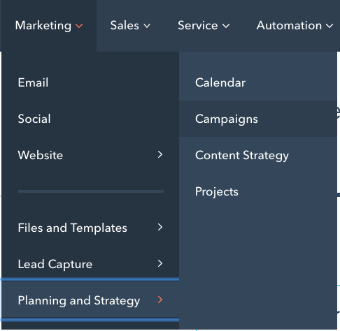 HubSpot Menu Screenshot Campaigns Tool